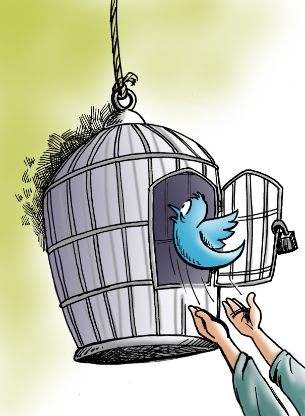 twitter bird caged